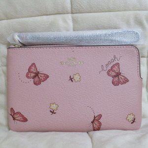 Coach Butterfly Corner Zip Wristlet (Pink/Multi)